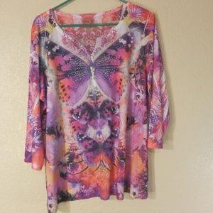 Style & Co Woman Blouse w/Butterfly 1X